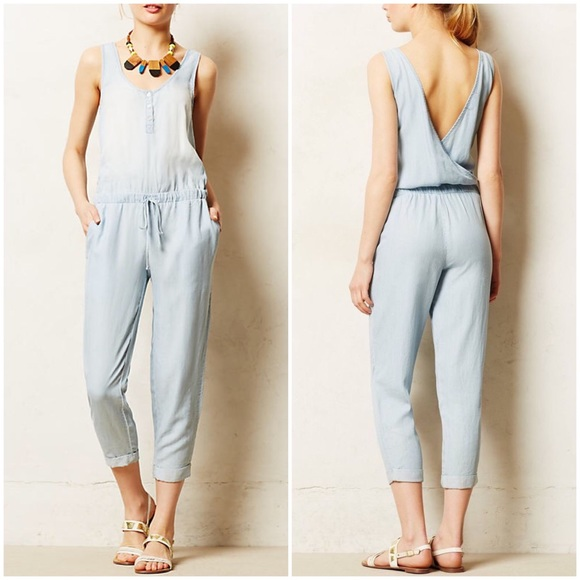 1340119746d Anthropologie Pants | Anthro Cloth Stone Chambray Jumpsuit Romper ...